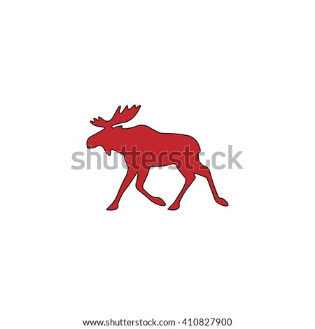 Moose Simple red icon on white background. Flat pictogram