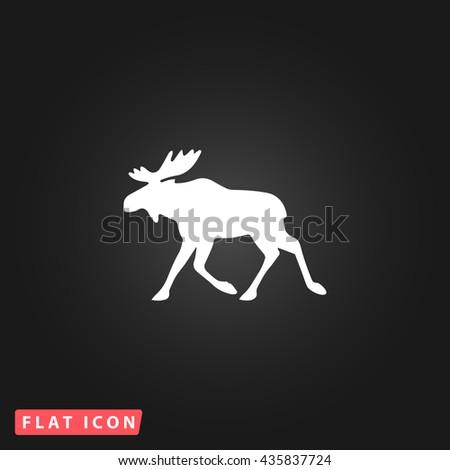 Moose White flat icon on dark background. Simple illustration pictogram - stock photo
