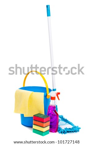 Mop and bucket. Isolated on white background