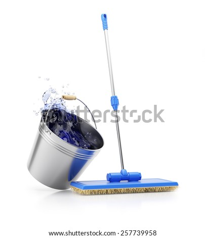 Mop and bucket isolated on white background. Cleaning concept. 3d render - stock photo
