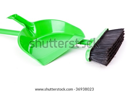 Mop and dust pan. Isolated on white background