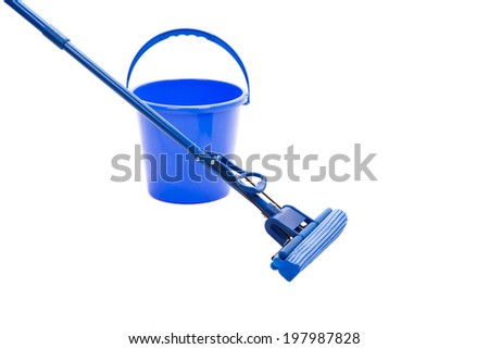 Mop, plastic bucket, isolated on white closeup