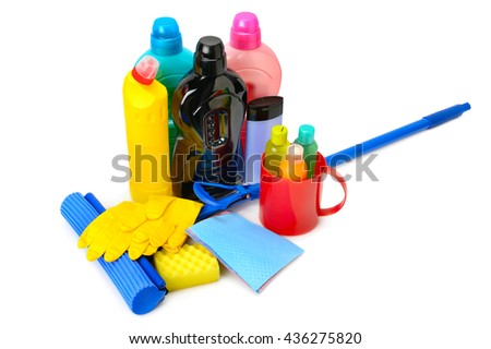 Mops, bottles detergent and rubber gloves isolated on white background