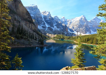 moraine lake and the valley of the ten peaks banff alberta canada - stock photo