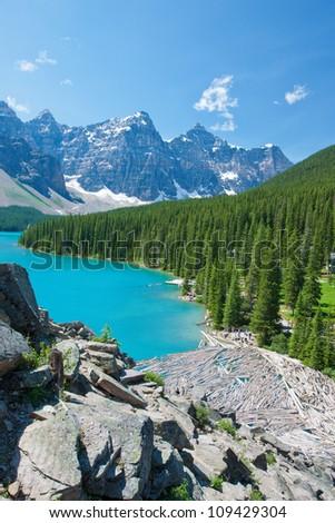 Moraine Lake at Banff National Park, Alberta, Canada - stock photo