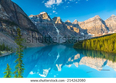 Moraine Lake at Sunrise in summer at the banff national park canada - stock photo