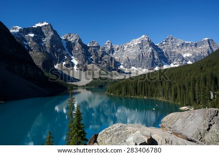 Moraine Lake, Banff National Park, AB, Canada - stock photo