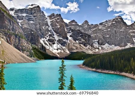 Moraine Lake, Banff National Park, Alberta, Canada. - stock photo