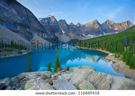 Moraine Lake Banff National Park Canada - stock photo