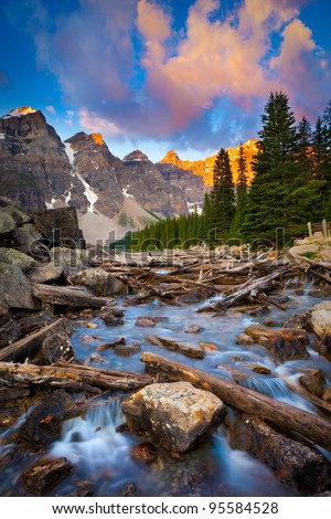 Moraine Lake Creek at Sunrise - stock photo