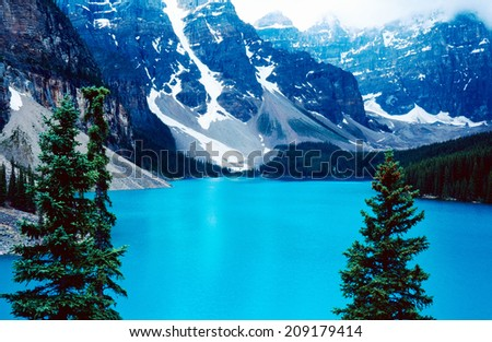 Moraine lake in Banff national park - stock photo