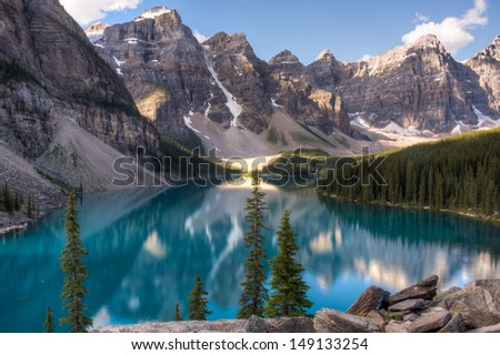 Moraine lake in Lake louise. Banff National Park, Alberta, Canada. - stock photo