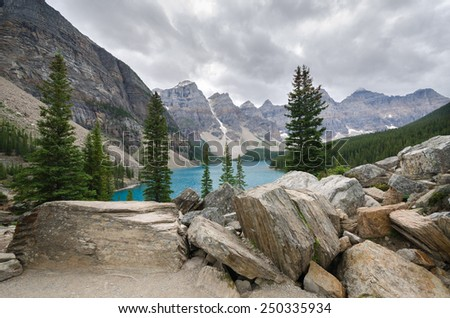 Moraine Lake in Lake Louise in Canada - stock photo