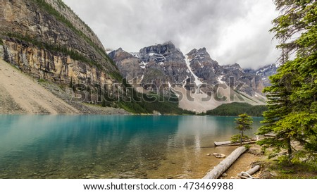 Moraine lake in the Valley of Ten Peaks, Banff National Park, Alberta, Canada