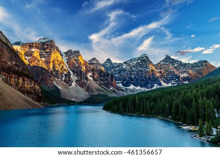 Moraine Lake is a glacially-fed lake located in the Valley of the Ten Peaks in Banff National Park Alberta, Canada