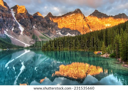 Moraine Lake is a well known place in Canada. - stock photo