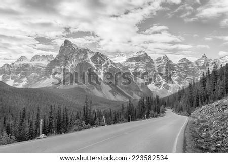 Moraine Lake Road, Banff National Park, Alberta, Canada - stock photo