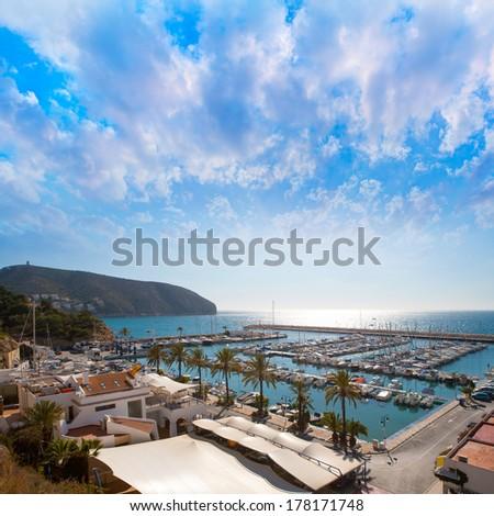 Moraira Alicante marina nautic port high angle view in Mediterranean - stock photo