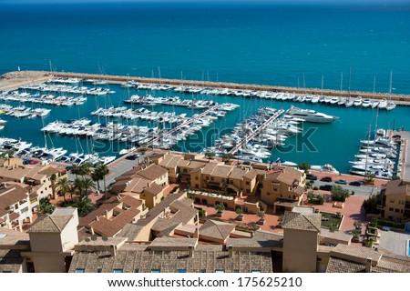 Moraira Club Nautico marina aerial view in Alicante Mediterranean sea of spain - stock photo