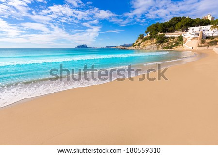Moraira playa El Portet beach turquoise water in Teulada Alicante Spain - stock photo