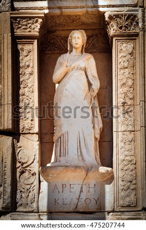 Moral virtue, statue of Arete (Apeth) in Library of Celsus in Efes