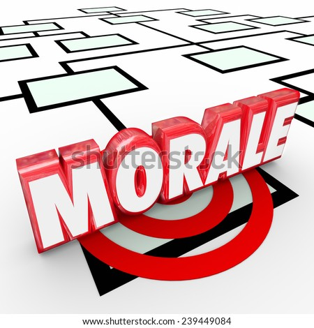 Morale 3d Word on an organization chart to illustrate employee attitude, work ethic and ambition to perform a job, achieve a task or complete a project with great results - stock photo