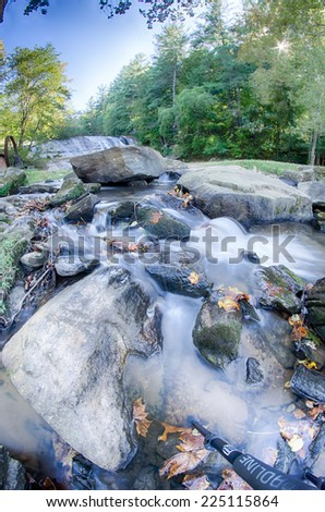 moravian falls park in north carolina mountains - stock photo