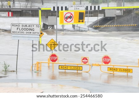 MORAYFIELD, AUSTRALIA - FEBRUARY 20: Cyclone Marcia causing flash flooding across roads on Feburay 20, 2015 in Morayfield, Australia