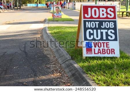 MORAYFIELD, AUSTRALIA - JANUARY 31: Queensland State Election Labor sign anti public service job cuts on January 31, 2015 in Morayfield, Australia - stock photo
