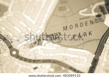 Morden Park. London, UK map.