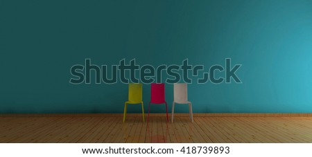 More chair yellow-red-white with blue wall / 3D Render Image