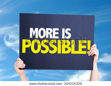 More is Possible card with sky background - stock photo