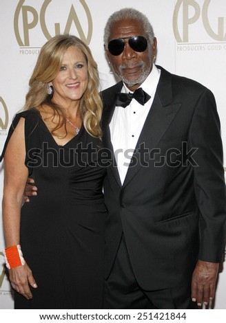 Morgan Freeman and Lori McCreary at the 25th Annual Producers Guild Awards held at the Beverly Hilton Hotel in Los Angeles in Los Angeles, California, United States on January 19, 2014.  - stock photo