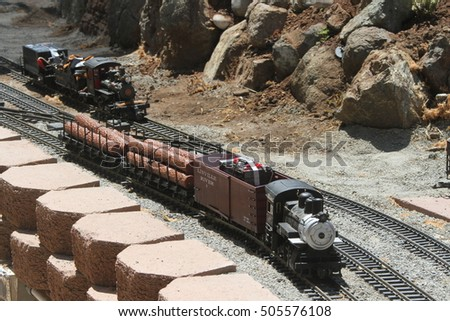 Morgan Hill, California: 5/5/2015: View of model railway, garden railway tour,