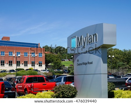 MORGANTOWN, WEST VIRGINIA, USA - AUGUST 30: Exterior of Mylan drug manufacturing plant on August 30, 2016 in Morgantown, WV.  Mylan is in the news over pricing of the Epipen.