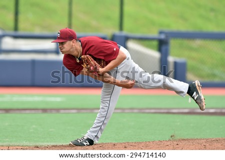 MORGANTOWN, WV - JUNE 21: Mahoning Valley Scrappers pitcher Leandro Linares (35) delivers a pitch during a NY-Penn League minor league baseball game June 21, 2015 in Morgantown, WV.