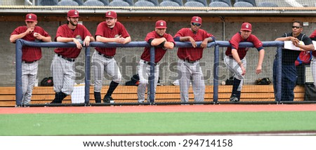 MORGANTOWN, WV - JUNE 21: Members of the Mahoning Valley Scrappers watch a NY-Penn League minor league baseball game from the dugout June 21, 2015 in Morgantown, WV.  - stock photo