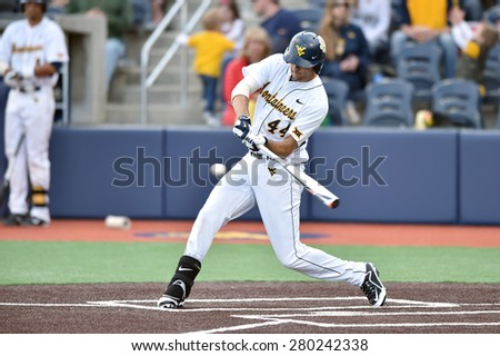 MORGANTOWN, WV - MAY 1: West Virginia outfielder Shaun Wood (44) prepares to swing at a pitch during a Big 12 conference baseball game May 1, 2015 in Morgantown, WV.  - stock photo