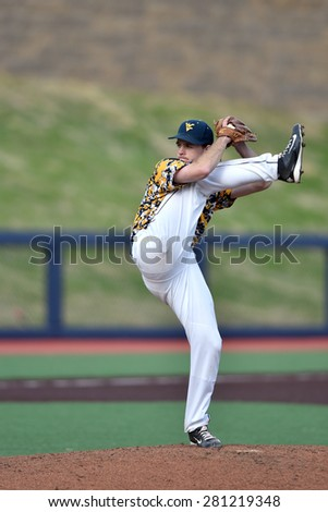 MORGANTOWN, WV - MAY 2: West Virginia pitcher Ross Vance (18) delivers a pitch during a Big 12 conference baseball game May 2, 2015 in Morgantown, WV.  - stock photo
