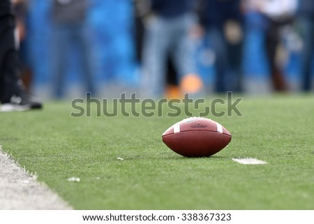 MORGANTOWN, WV - NOVEMBER 7:  A football rests on the one yard line in a timeout during the football game November 7, 2015 in Morgantown, WV.