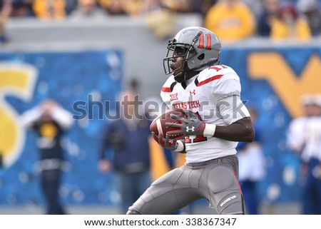 MORGANTOWN, WV - NOVEMBER 7: Texas Tech Red Raiders wide receiver Jakeem Grant (11) catches the second half kickoff during the football game November 7, 2015 in Morgantown, WV.