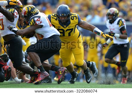 MORGANTOWN, WV - SEPTEMBER 26: Maryland Terrapins running back Brandon Ross (45) runs into the pile at the line during the NCAA football game September 26, 2015 in Morgantown, WV.