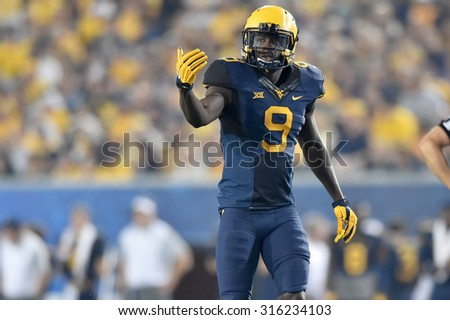 MORGANTOWN, WV - SEPTEMBER 5: West Virginia Mountaineers safety KJ Dillon (9) shown in the season opening game September 5, 2015 in Morgantown, WV.