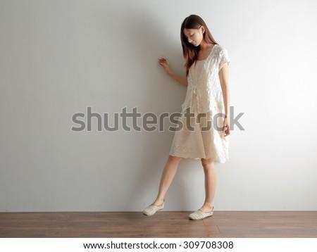 Mori Girl Asian woman model designer style relax home black hair - stock photo