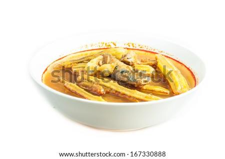 Moringa curry with mackerel fish - stock photo
