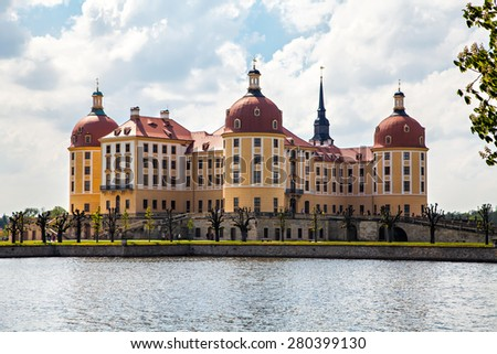 Moritzburg Castle near Dresden, Germany, a Baroque palace, in the German state of Saxony