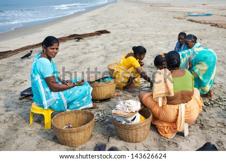 MORJIM, GOA, INDIA - MARCH 11: Indian women sorted fresh caught fish for sale on a beach near fisher boat, Morjim, March 11, 2013 in Goa India. This activity will provide a income stream for people. - stock photo