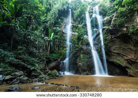 Mork fa Waterfall of Doi Suthep Pui national park, Chiang Mai, Thailand. - stock photo