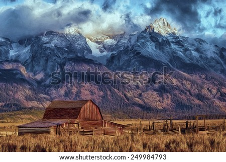 Mormon Barn with Tetons in the Background