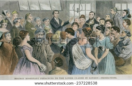 Mormon missionary seeking converts among the English lower classes. 4000 British converts joined the Church by 1841 and were assisted with emigration to America. - stock photo